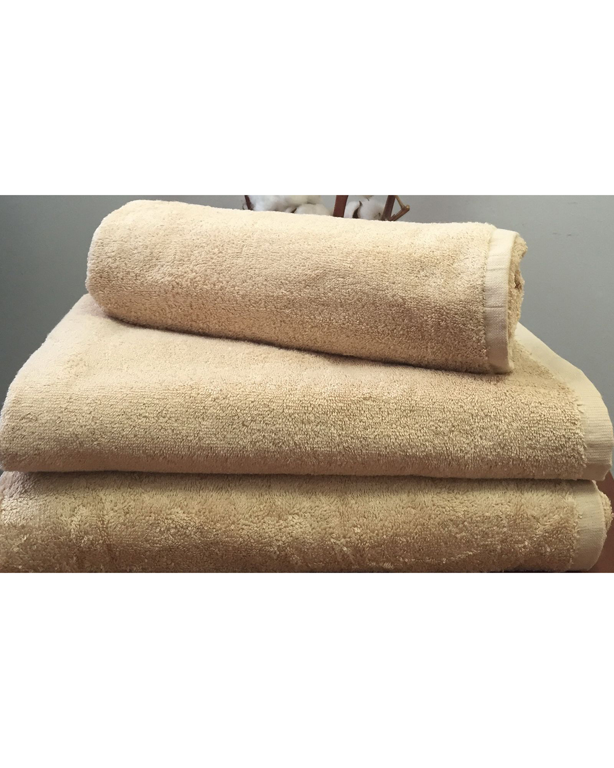 Махровое полотенце пл.500 гр/м2 без бордюров, бежевый