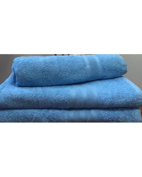 Махровое полотенце пл.420 гр/м2 с бордюром, голубое