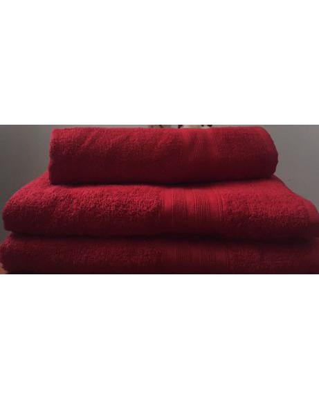Махровое полотенце пл.420 гр/м2 с бордюром, бордовое
