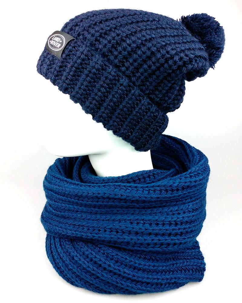 Вязаный шарф и шапка брендированная этикеткой