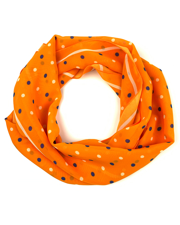Брендированный шарф оранжевый в горошек