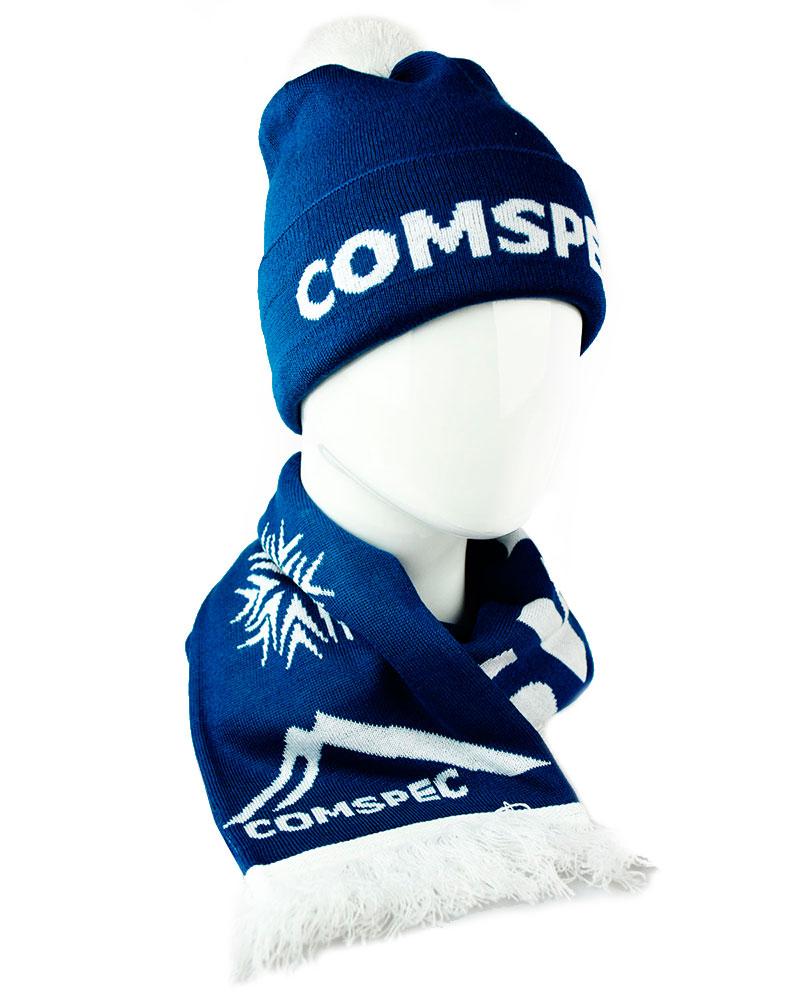 Вязаный комплект (шапка, шарф) с логотипом в структуре