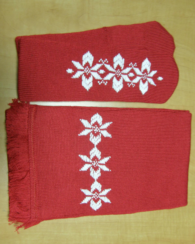 Варежки и шарф со снежинкой